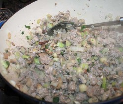 For the best sausage stuffing, use the best sausage you can find. I use Enzo's Sausage, or any fine grocery store who sells freshly ground, loose sausage with NO added herbs. You da boss--add your own herbs!